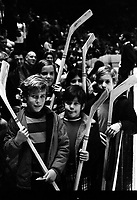 Kids hockey stick night, during the California Golden Seals and the Chicago Black Hawks at the Oakland Alameda County Coliseum Arena (1970 photo by Ron Riesterer)
