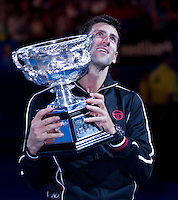 NOVAK DJOKOVIC (SRB) against RAFAEL NADAL (ESP) in the FINAL of the Men's Singles. Novak Djokovic Beat Rafael Nadal 5-7 6-4 6-2 6-7 7-5...29/01/2012, 29th January 2012, 29.01.2012 - Day 14..The Australian Open, Melbourne Park, Melbourne,Victoria, Australia.@AMN IMAGES, Frey, Advantage Media Network, 30, Cleveland Street, London, W1T 4JD .Tel - +44 208 947 0100..email - mfrey@advantagemedianet.com..www.amnimages.photoshelter.com.