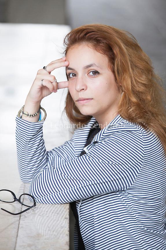 Clelia Attanasio è uno dei cinque finalisti del Premio Campiello Giovani 2015, insieme ad Anja Boato, Eva Mascolino, Loreta Minutilli e Gabriele Terranova. Pordenonelegge, settembre 2015. © Leonardo Cendamo