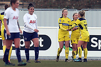 Chloe Chivers of Oxford United Ladies (Silver boots) is congratulated after scoring the opening goal during Tottenham Hotspur Ladies vs Oxford United Women, FA Women's Super League FA WSL2 Football at Theobalds Lane on 11th February 2018