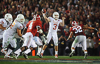 Jan 7, 2010; Pasadena, CA, USA; Texas Longhorns quarterback Garrett Gilbert (3) during the 2010 BCS national championship game against the Alabama Crimson Tide at the Rose Bowl. Alabama defeated Texas 37-21. Mandatory Credit: Mark J. Rebilas-.