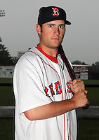 Lowell Spinners infielder Nick Robinson (5) poses for a photo in a Boston Red Sox uniform during a rain delay at Falcon Park in Auburn, New York August 9, 2010.  Robinson was selected in the 2010 MLB Draft by the Red Sox in the 39th round (1193rd overall) out of North Central (IL).  The game between the Lowell Spinners and Auburn Doubledays was cancelled due to rain.  Photo By Mike Janes/Four Seam Images