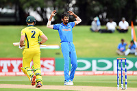 India's Ishan Porel reacts to a missed opportunity off his bowling during the ICC U-19 Cricket World Cup 2018 Finals between India v Australia, Bay Oval, Tauranga, Saturday 03rd February 2018. Copyright Photo: Raghavan Venugopal / © www.Photosport.nz 2018 © SWpix.com (t/a Photography Hub Ltd)
