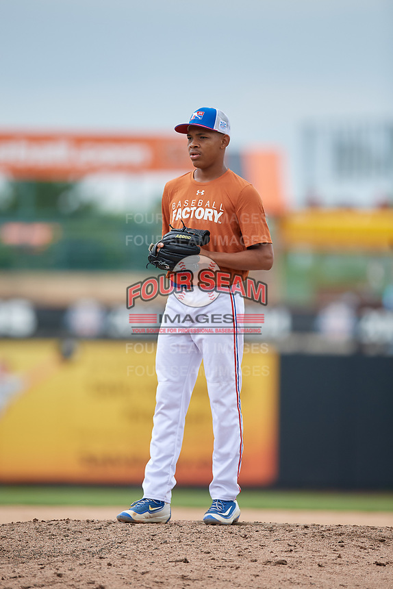 Ronaldo Guzman (14) gets ready to deliver a pitch during during the Dominican Prospect League Elite Underclass International Series, powered by Baseball Factory, on July 21, 2018 at Schaumburg Boomers Stadium in Schaumburg, Illinois.  (Mike Janes/Four Seam Images)