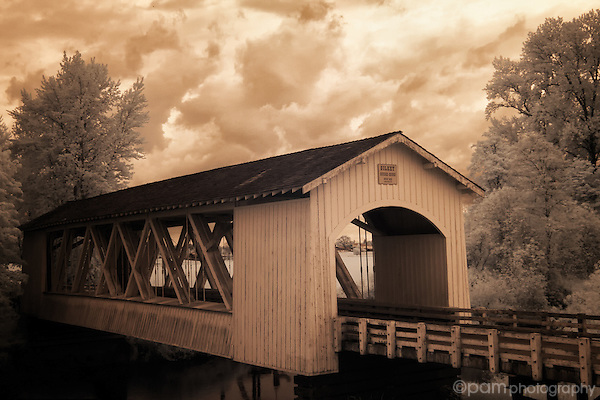 Antique toned interpretation of Gilkey Bridge in Oregon
