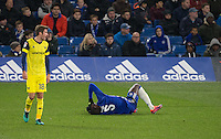 Kurt Zouma of Chelsea takes a knock to the head after a challenge with Kane Hemmings of Oxford United during the The Checkatrade Trophy match between Chelsea U23 and Oxford United at Stamford Bridge, London, England on 8 November 2016. Photo by Andy Rowland.