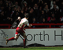 Scott Laird of Stevenage Borough celebrates in front of fans after scoring a penalty during the Blue Square Premier match between Stevenage Borough and Oxford United at the Lamex Stadium, Broadhall Way, Stevenage on Saturday 27th March, 2010..© Kevin Coleman 2010 .