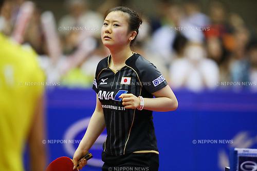 Ai Fukuhara (JPN), JUNE 23, 2013 - Table Tennis : 2013 ITTF World Tour Japan Open 2013 Women's Singles Semi Final at Yokohama Cultural Gymnasium, Kanagawa, Japan. (Photo by Yusuke Nakanishi/AFLO SPORT)
