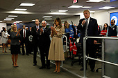 United States President Donald J. Trump speaks to employees at the National Response Coordination Center inside the FEMA headquarters on June 6, 2018 in Washington, DC. <br /> Credit: Yuri Gripas / Pool via CNP