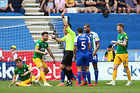 Preston North End's Ryan Ledson is shown a red card by Referee Andrew Madley<br /> <br /> Photographer David Shipman/CameraSport<br /> <br /> The EFL Sky Bet Championship - Wigan Athletic v Preston North End - Monday 22nd April 2019 - DW Stadium - Wigan<br /> <br /> World Copyright © 2019 CameraSport. All rights reserved. 43 Linden Ave. Countesthorpe. Leicester. England. LE8 5PG - Tel: +44 (0) 116 277 4147 - admin@camerasport.com - www.camerasport.com