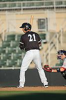 Seby Zavala (21) of the Kannapolis Intimidators at bat against the Greenville Drive at Intimidators Stadium on June 8, 2016 in Kannapolis, North Carolina.  The Intimidators defeated the Drive 3-2.  (Brian Westerholt/Four Seam Images)