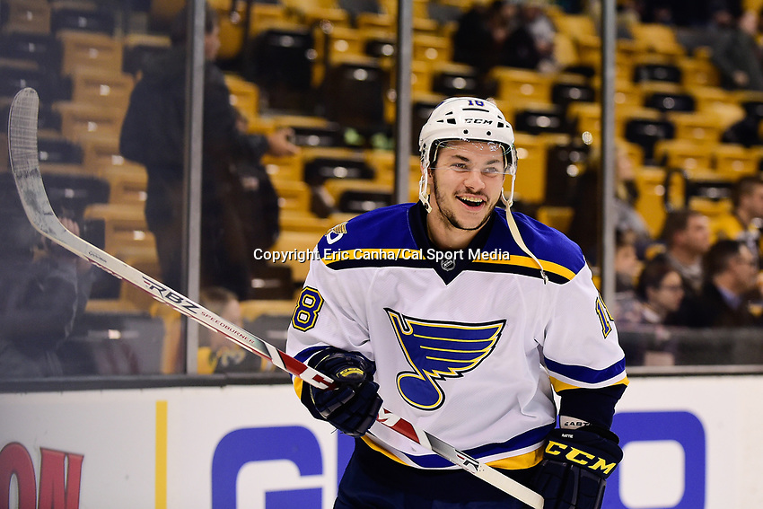 Tuesday, November 22, 2016: St. Louis Blues right wing Ty Rattie (18) warms up before the National Hockey League game between the St. Louis Blues and the Boston Bruins held at TD Garden, in Boston, Mass. The Blues defeat the Bruins 4-2. Eric Canha/CSM