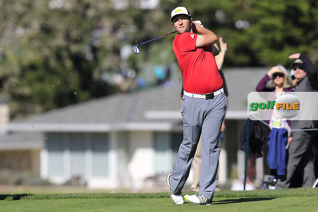 Jon Rahm (ESP) tees off the 5th tee at Pebble Beach Golf Links during Sunday's Final Round 4 of the 2017 AT&amp;T Pebble Beach Pro-Am held over 3 courses, Pebble Beach, Spyglass Hill and Monterey Penninsula Country Club, Monterey, California, USA. 12th February 2017.<br /> Picture: Eoin Clarke | Golffile<br /> <br /> <br /> All photos usage must carry mandatory copyright credit (&copy; Golffile | Eoin Clarke)