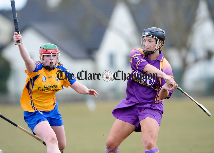 Clare's Kate Lynch moves in on Wexford's Ursula Jacob during their  Division 1 League game at Clarecastle. Photograph by John Kelly.