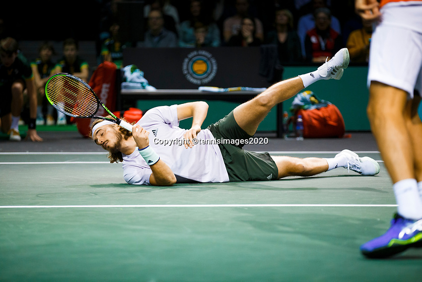 Rotterdam, The Netherlands, 10 Februari 2020, ABNAMRO World Tennis Tournament, Ahoy, Jean-Julien Royer (NED) and Horia Tecau (ROU), Stefanos Tsitsipas (GRE) and Nenand Zimonjic (SRB).<br /> Photo: www.tennisimages.com