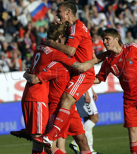 04 06 2011- 2012 UEFA European Championship Qualifying Match Russia versus Armenia in St.  Petersburg Petrovski Stadium St Petersburg. Pavlyuchenko scores