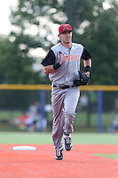 Steven Duggar (17) of the Salem-Keizer Volcanoes in the field during a game against the Hillsboro Hops at Ron Tonkin Field on July 26, 2015 in Hillsboro, Oregon. Hillsboro defeated Salem-Keizer, 4-3. (Larry Goren/Four Seam Images)