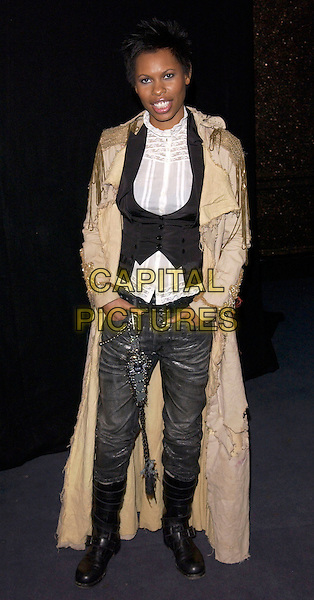 SKIN.The British Independent Film Awards.Hammersmith Palais.London 30 November 2004..full length black waistcoat white ruffle shirt frills jeans boots long beige gold coat.Ref: FIN.www.capitalpictures.com.sales@capitalpictures.com.©Steve Finn/Capital Pictures .