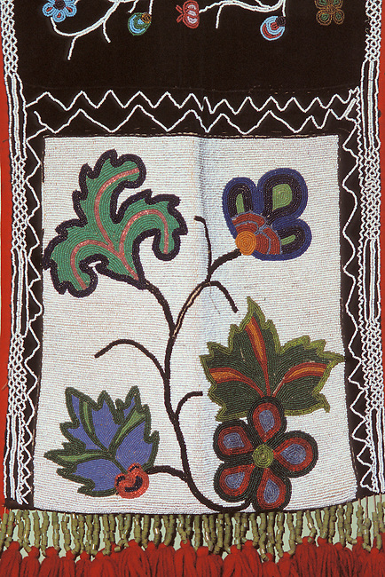 Floral beadwork design on a Chippewa (Ojibway) shoulder bag known as a bandolier bag
