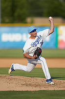 Burlington Royals relief pitcher Ted Cillis (36) in action against the Johnson City Cardinals at Burlington Athletic Stadium on July 15, 2018 in Burlington, North Carolina. The Cardinals defeated the Royals 7-6.  (Brian Westerholt/Four Seam Images)