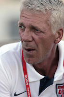 The United States' coach, Thomas Rongen watches his team before the FIFA Under 20 World Cup Group C Match between the United States and Germany at the Mubarak Stadium on September 26, 2009 in Suez, Egypt.