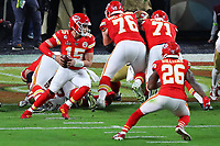 2nd February 2020, Miami Gardens, Florida, USA;   Kansas City Chiefs Quarterback Patrick Mahomes (15) rolls out and scores a touchdown during the first quarter of Super Bowl LIV on February 2, 2020 at Hard Rock Stadium in Miami Gardens
