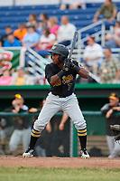 West Virginia Black Bears third baseman Melvin Jimenez (7) at bat during a game against the Batavia Muckdogs on June 19, 2018 at Dwyer Stadium in Batavia, New York.  West Virginia defeated Batavia 7-6.  (Mike Janes/Four Seam Images)