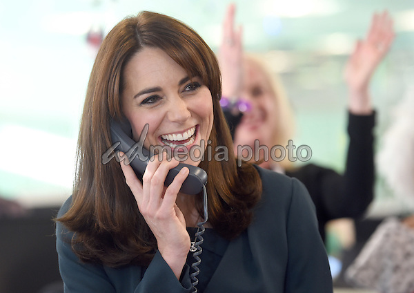 09 December 2015 - London, England - Kate Duchess of Cambridge,  at ICAP's 23rd annual Charity Day. They join ICAP's brokers in its London office to speak to customers to close deals and help boost trading volumes during the day. Photo Credit: Alpha Press/AdMedia