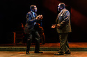 """London, UK. 01.11.2019. The West End transfer of the Young Vic prodution of Arthur Miller's """"Death of a Salesman"""", produced by Elliott & Harper Productions and Cindy Tolan, starring Wendell Pierce and Sharon D Clarke, begins its run at the Piccadilly Theatre in London, where it will run until 4th Janurary 2020. Picture shows: Sope Dirisu (Biff), Wendell Pierce (Willy Loman). Photograph © Jane Hobson."""