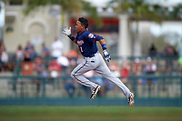 Minnesota Twins shortstop Engelb Vielma (1) running the bases after hitting a triple during a Spring Training game against the Baltimore Orioles on March 7, 2016 at Ed Smith Stadium in Sarasota, Florida.  Minnesota defeated Baltimore 3-0.  (Mike Janes/Four Seam Images)