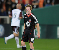 DC United midfielder Dax McCarty (10) argues with the referee about a call.  DC United tied The Colorado Rapids 1-1, at RFK Stadium, Saturday  May 14, 2011.