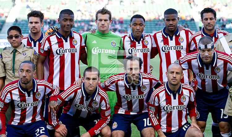 CARSON, CA - April 1, 2012: Chivas USA starting lineup for the Chivas USA vs Sporting KC match at the Home Depot Center in Carson, California. Final score Sporting KC 1, Chivas USA 0.