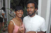 Karen Thompson, EJ Hill==<br /> LAXART 5th Annual Garden Party Presented by Tory Burch==<br /> Private Residence, Beverly Hills, CA==<br /> August 3, 2014==<br /> ©LAXART==<br /> Photo: DAVID CROTTY/Laxart.com==
