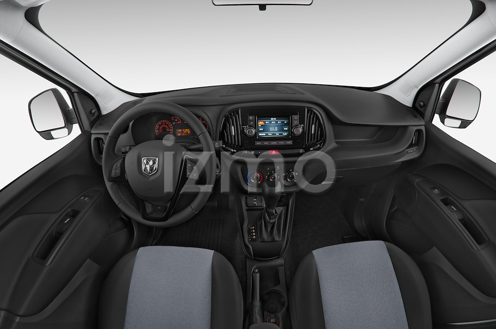 Stock photo of straight dashboard view of a 2015 Ram Promaster City Trademans 4 Door Cargo Van