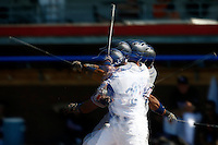 09 September 2012: Multiexposure image of France Yann Dal Zotto, at bat, during France 9-8 win in over Belgium, at the 2012 European Championship, in Utrecht, Netherlands.