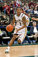January 14, 2010:     Jacksonville guard Travis Cohn (1) drives to the basket during Atlantic Sun conference game action between the Jacksonville Dolphins and the Lipscomb Bisons at Veterans Memorial Arena in Jacksonville, Florida.  Jacksonville defeated Lipscomb 79-73.