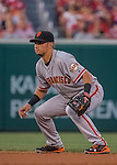 6 August 2016: San Francisco Giants second baseman Joe Panik in action against the Washington Nationals at Nationals Park in Washington, DC. The Giants defeated the Nationals 7-1 to even their series at one game apiece. Mandatory Credit: Ed Wolfstein Photo *** RAW (NEF) Image File Available ***