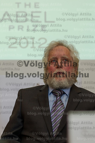 Endre Szemeredi Hungarian scientist working in the USA is announced as the winner of the prestigious Abel prize considered to be the Nobel Prize for matematitians during a press conference in Budapest, Hungary on March 21, 2012. ATTILA VOLGYI