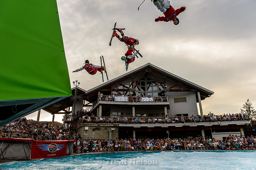 Trent Nelson  |  The Salt Lake Tribune<br /> Skiers perform at the grand opening of the expanded Spence Eccles Olympic Freestyle Pool at Utah Olympic Park, Saturday June 27, 2015. The Eccles family donated $1 million to kick off a $3 million fundraising campaign to expand the pool and replace four old wooden jumps with seven metal jumps that have different lift-off angles suited to the various Winter Olympic sports disciplines.