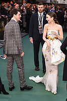 "LONDON, UK. April 29, 2019: Anthony Boyle & Lily Collins arriving for the ""TOLKIEN"" premiere at the Curzon Mayfair, London.<br /> Picture: Steve Vas/Featureflash"