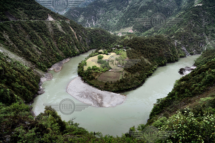A view of a bend in the Nujiang River.