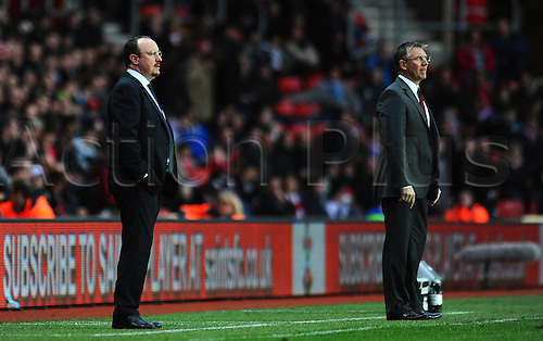 05.01.2013 Southampton, England.  Chelsea's manager Rafa Benítez and Southampton's manager Nigel Adkins look on from the touchline during the FA Cup game between Southampton and Chelsea at St Mary's Stadium.