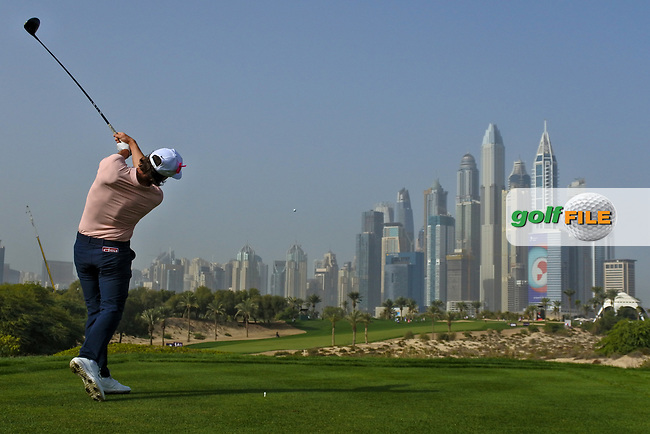 Kristoffer Broberg (SWE) on the 8th tee during Round 2 of the Omega Dubai Desert Classic, Emirates Golf Club, Dubai,  United Arab Emirates. 25/01/2019<br /> Picture: Golffile | Thos Caffrey<br /> <br /> <br /> All photo usage must carry mandatory copyright credit (© Golffile | Thos Caffrey)