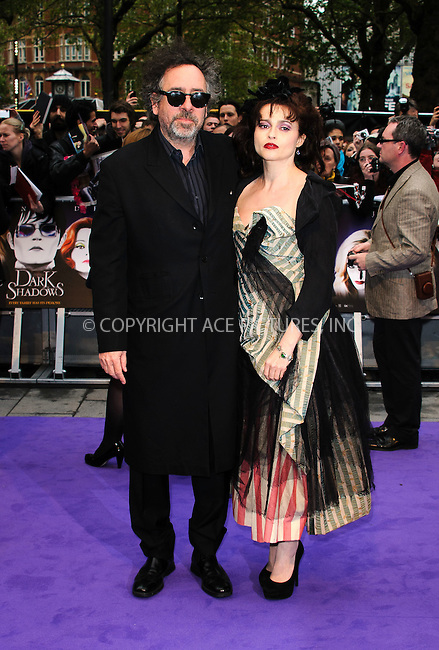 WWW.ACEPIXS.COM . . . . .  ..... . . . . US SALES ONLY . . . . .....May 9 2012, London.... Helena Bonham Carter and Tim Burton at the premiere of 'Dark Shadows' held at The Empire Cinema on May 9 2012 in London ....Please byline: FAMOUS-ACE PICTURES... . . . .  ....Ace Pictures, Inc:  ..Tel: (212) 243-8787..e-mail: info@acepixs.com..web: http://www.acepixs.com