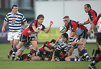 Harlequins scrum half David Creighton gets the ball away during the First Trust Senior Cup Final at Ravenhill. Result - Dungannon 27pts Harlequins 10pts.