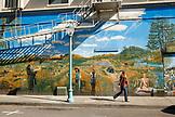 USA, California, Healdsburg, street scenes from the Healdsburg Plaza in Sonoma County