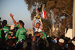 Khadamat Rafah team celebrates the winning following the final match in Palestine Cup for Southern Governorates championship, at Yarmok staduim, in Gaza city, April 22, 2019. Khadamat Rafah won the championship by penalty shootout. Photo by Mahmoud Ajjour