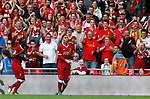 Liverpool's Roberto Firmino celebrates his goal during the premier league match at Anfield Stadium, Liverpool. Picture date 27th August 2017. Picture credit should read: Paul Thomas/Sportimage