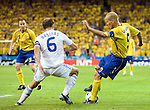 Fredrik Ljungberg and Angelos Basinas at Euro 2008 Greece-Sweden 06102008, Salzburg, Austria