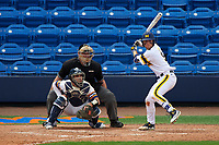 Michigan Wolverines shortstop Michael Brdar (9) at bat in front of catcher Nick Capitano and umpire Robert Lothian during the first game of a doubleheader against the Canisius College Golden Griffins on June 20, 2016 at Tradition Field in St. Lucie, Florida.  Michigan defeated Canisius 6-2.  (Mike Janes/Four Seam Images)